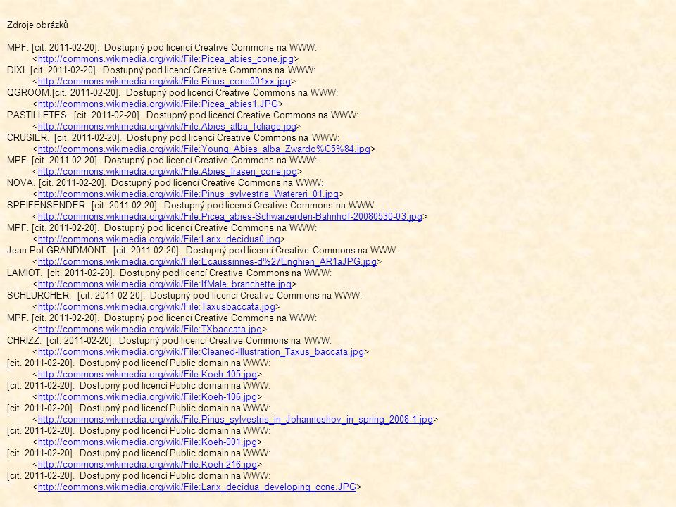 Zdroje obrázků MPF. [cit. 2011-02-20]. Dostupný pod licencí Creative Commons na WWW: <http://commons.wikimedia.org/wiki/File:Picea_abies_cone.jpg>